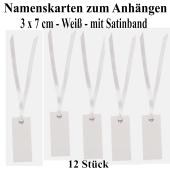 Tischkarten Weiß mit Satinband, 12 Stück