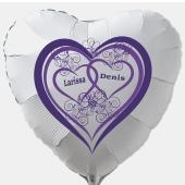 Luftballon zur Hochzeit, weißer Herzballon aus Folie inklusive Helium mit den Namen von Braut und Bräutigam, Herz in Lila mit Ornamenten