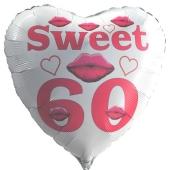 Weißer Herzluftballon zum 60. Geburtstag mit Helium, Sweet 60