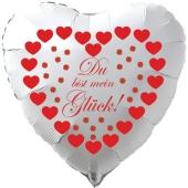 """Herzluftballon in Weiß """"Du bist mein Glück!"""" zum Valentinstag mit roten Herzen und Glücksklee"""
