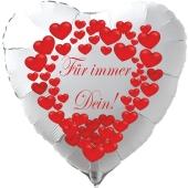 """Herzluftballon in Weiß """"Für immer Dein!"""" zum Valentinstag"""