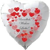 """Herzluftballon in Weiß """"Undendlich! Wahre Liebe! zum Valentinstag"""