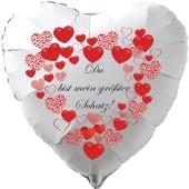 """Herzluftballon in Weiß """"Du bist mein größter Schatz!"""" zum Valentinstag mit roten Herzen"""