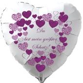 """Herzluftballon in Weiß """"Du bist mein größter Schatz!"""" zum Valentinstag"""