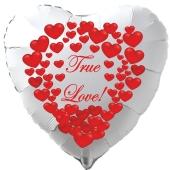 """Herzluftballon in Weiß """"True Love!"""" zum Valentinstag mit roten Herzen"""