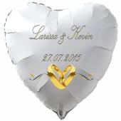 Luftballon zur Hochzeit, Herzballon aus Folie inklusive Helium mit den Namen von Braut und Bräutigam und Datum des Hochzeitstages, weiß mit goldenen Hochzeitsringen