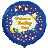 Luftballon aus Folie mit Ballongas-Helium, Welcome Baby Boy zur Geburt