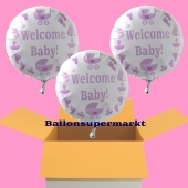 Welcome Baby Luftballons, Babyparty Girl, 3 Heliumballons