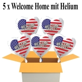 5 Welcome Home USA Luftballons aus Folie, 45 cm Herzballons mit Helium-Ballongas