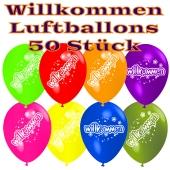 Motiv-Luftballons Willkommen, bunt gemischt, 50 Stueck