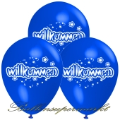 Motiv-Luftballons Willkommen, blau, 3 Stueck