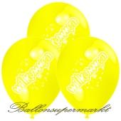 Motiv-Luftballons Willkommen, gelb, 3 Stueck