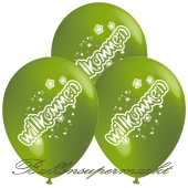 Motiv-Luftballons Willkommen, gruen, 3 Stueck