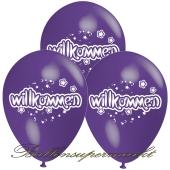 Motiv-Luftballons Willkommen, lila, 3 Stueck
