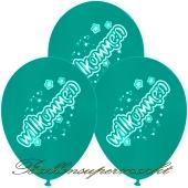 Motiv-Luftballons Willkommen, mintgruen, 3 Stueck