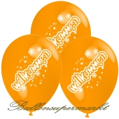 Motiv-Luftballons Willkommen, orange, 3 Stueck