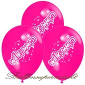 Motiv-Luftballons Willkommen, pink, 3 Stueck