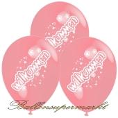 Motiv-Luftballons Willkommen, rosa, 3 Stueck