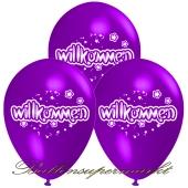 Motiv-Luftballons Willkommen, violett, 3 Stueck