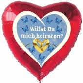 """Luftballon Herz """"Willst Du mich heiraten"""" mit Helium-Ballongas"""