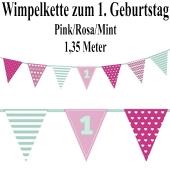 Wimpelkette zum 1. Geburtstag, rosa