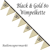 Wimpelkette Black & Gold 80