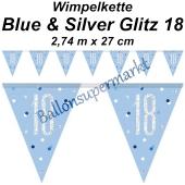 Wimpelkette Blue & Silver Glitz 18 zum 18. Geburtstag