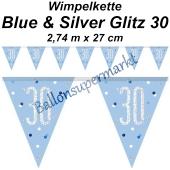 Wimpelkette Blue & Silver Glitz 30 zum 30. Geburtstag