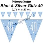 Wimpelkette Blue & Silver Glitz 40 zum 40. Geburtstag