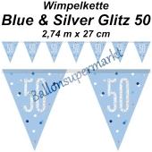 Wimpelkette Blue & Silver Glitz 50 zum 50. Geburtstag