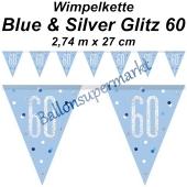 Wimpelkette Blue & Silver Glitz 60 zum 60. Geburtstag