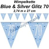 Wimpelkette Blue & Silver Glitz 70 zum 70. Geburtstag