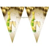 Silvesterdekoration, Wimpelkette Champagner