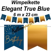 Wimpelkette Elegant True Blue Happy Birthday zum Geburtstag
