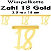 Wimpelkette zum 18. Geburtstag in Gold