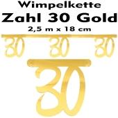 Wimpelkette zum 20. Geburtstag in Gold