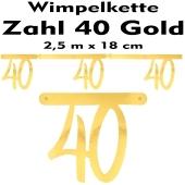 Wimpelkette zum 40. Geburtstag in Gold