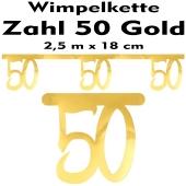 Wimpelkette zum 50. Geburtstag in Gold
