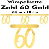 Wimpelkette zum 60. Geburtstag in Gold