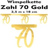 Wimpelkette zum 70. Geburtstag in Gold