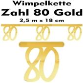 Wimpelkette zum 80. Geburtstag in Gold