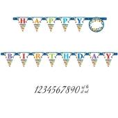 Happy Birthday Wimpelkette mit Zahlen