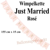 Wimpelkette Just Married, rosa