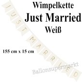 Wimpelkette Just Married, weiß