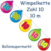 Wimpelkette Balloonshape zum 10. Geburtstag