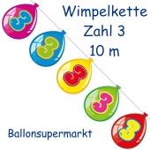 Wimpelkette Balloonshape zum 3. Geburtstag