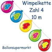 Wimpelkette Balloonshape zum 4. Geburtstag