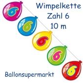 Wimpelkette Balloonshape zum 6. Geburtstag