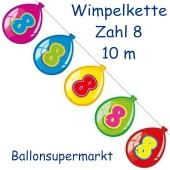 Wimpelkette Balloonshape zum 8. Geburtstag