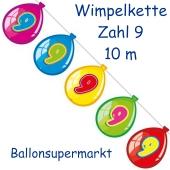 Wimpelkette Balloonshape zum 9. Geburtstag